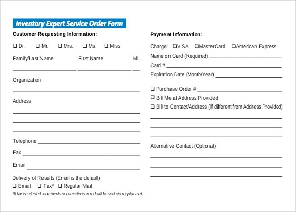Sample Service Order Template - 6 Free Word, Excel PDF Documents - client information form template