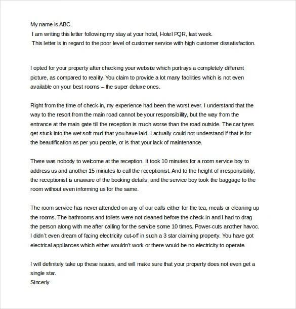 Sample Complaint Letter For Bad Restaurant Service Free And Best