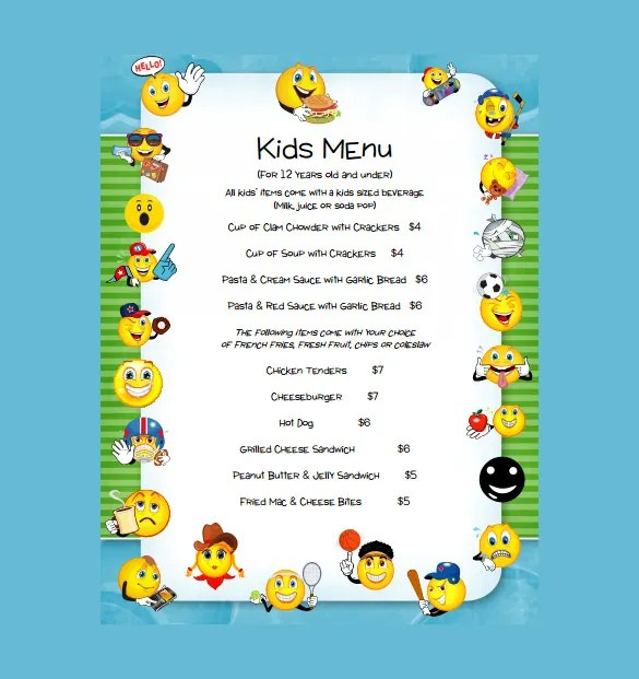 20+ Kids Menu Templates \u2013 Free Sample, Example Format Download