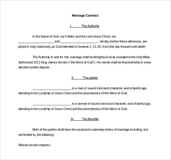 Wedding Contract Template \u2013 9+ Free Word, PDF Documents Download