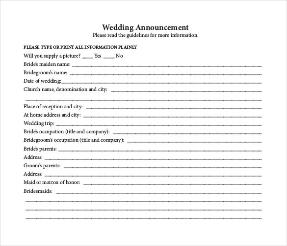 Wedding Announcement Template \u2013 10+ Free Word, PDF Documents - newspaper wedding announcement templates