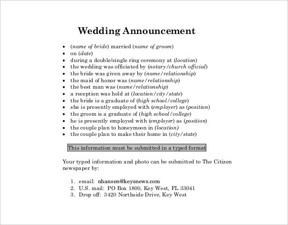 Wedding Announcement Template \u2013 10+ Free Word, PDF Documents - announcement template