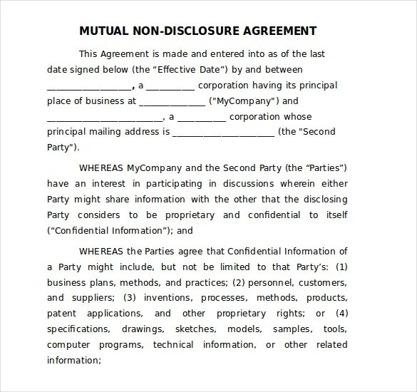 18+ Word Non Disclosure Agreement Templates Free Download Free - non disclosure agreement form