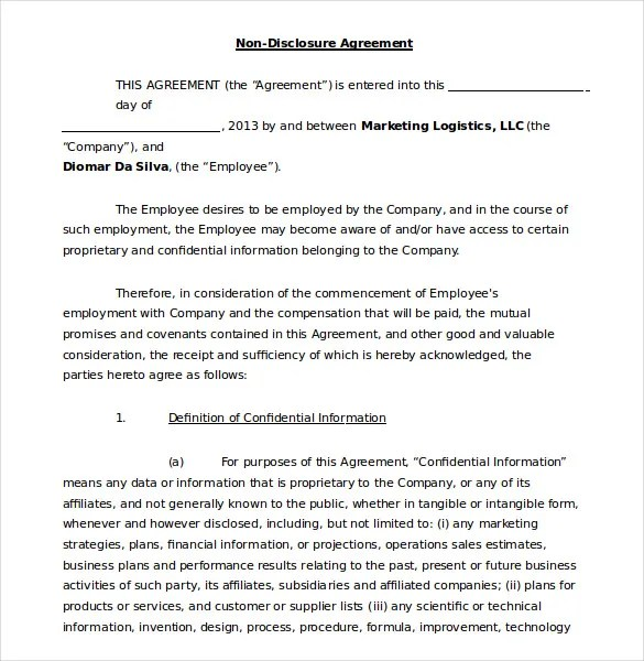 19+ Word Non Disclosure Agreement Templates Free Download Free - confidentiality agreement free template