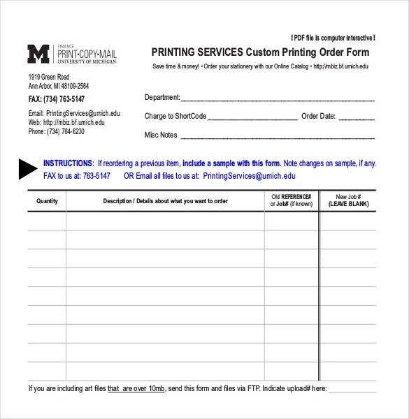 job order form sample excel