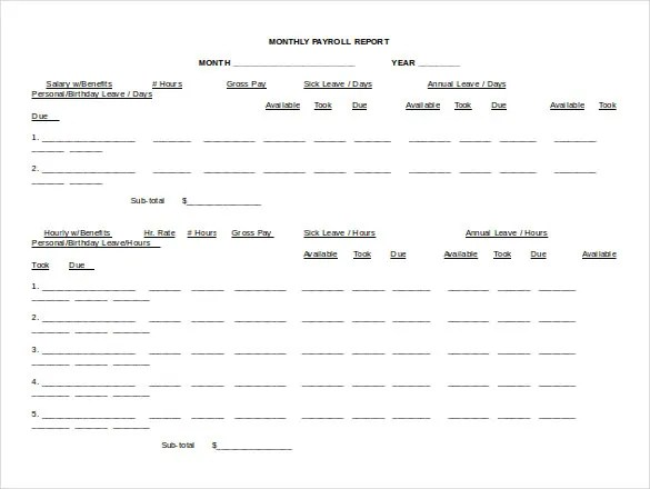 15+ Word Payroll Templates Free Download Free  Premium Templates - payroll report template