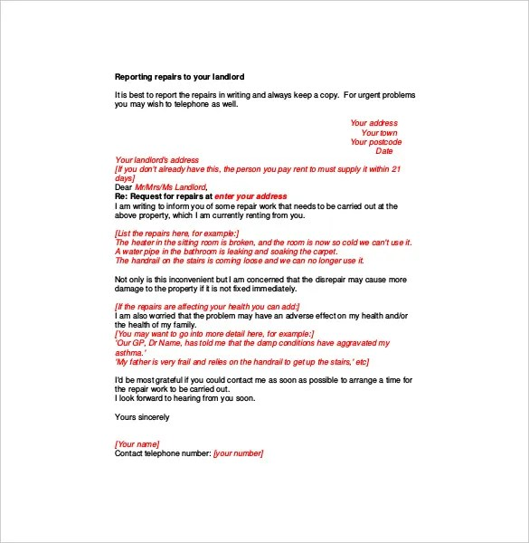 Complaint Letter to Landlord \u2013 8+ Free Word, PDF Documents Download