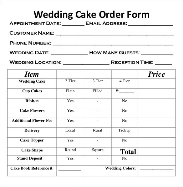 Sample Cake Order Form Template. Bakery Cake Order Form1 ...