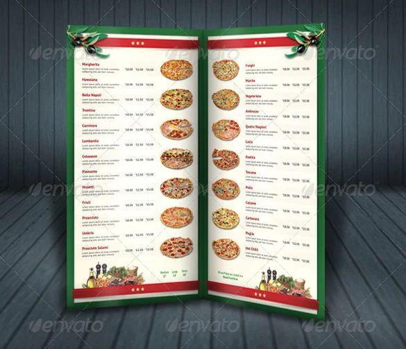 sample menu design templates