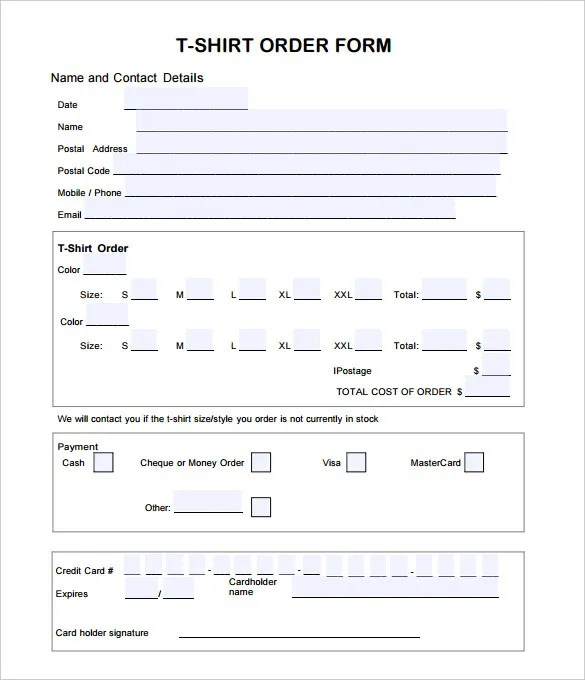 T-Shirt Order Form Template - 24+ Free Word, PDF Format Download - money order form