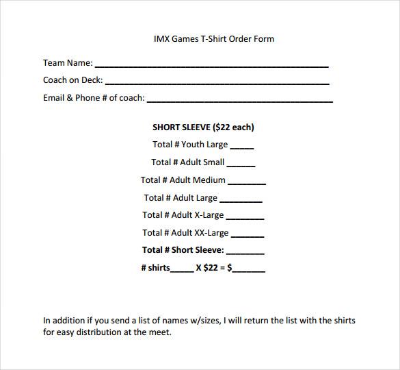 26+ T-Shirt Order Form Templates - PDF, DOC Free  Premium Templates