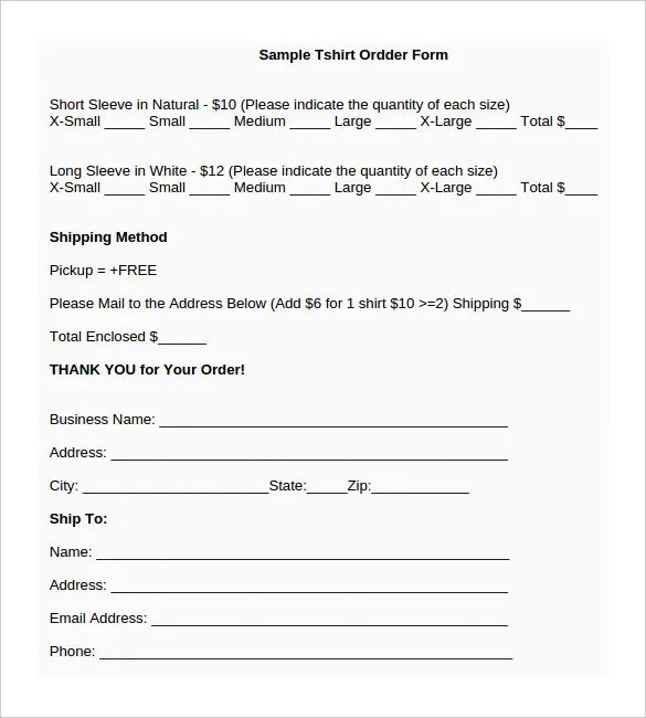 order form template word - order form template free