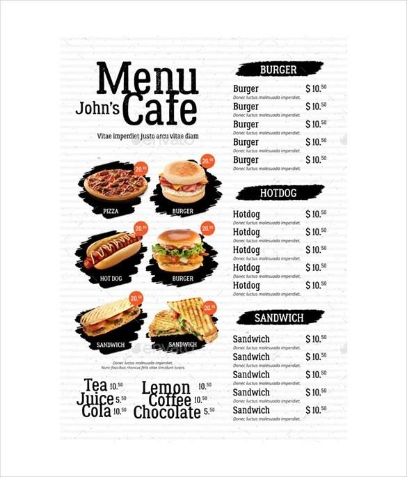 sample cafe menu template - fototango