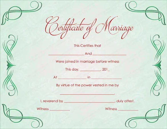 Wedding Certificate Template - 22+ Free PSD, AI, Vector, PDF Format