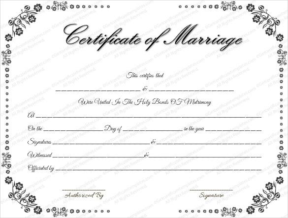 Wedding Certificate Template - 22+ Free PSD, AI, Vector, PDF Format - wedding certificate template