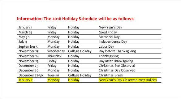 Holiday Schedule Template - 19+ Free Sample, Example Documents - holiday closure sign template