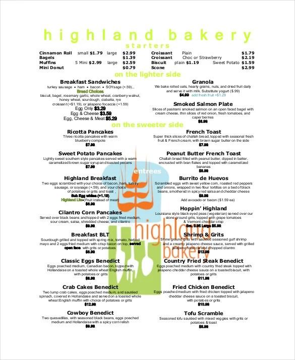 25+ Bakery Menu Templates u2013 Free Sample, Example Format Download - free menu templates for microsoft word