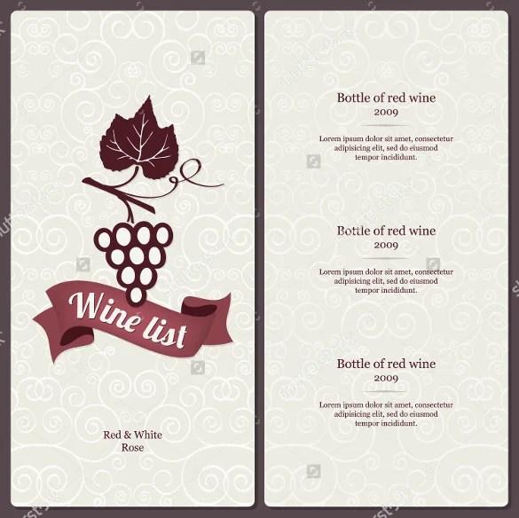 Wine Menu Template Wine List Wine Menu Template Wedding Print Drink - menu list sample