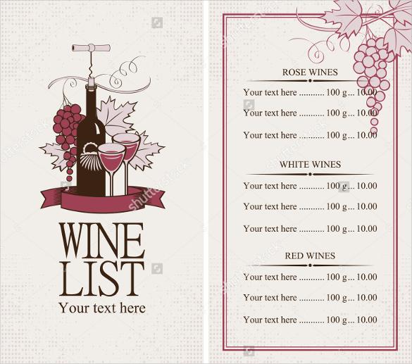 free wine menu template - Boatjeremyeaton