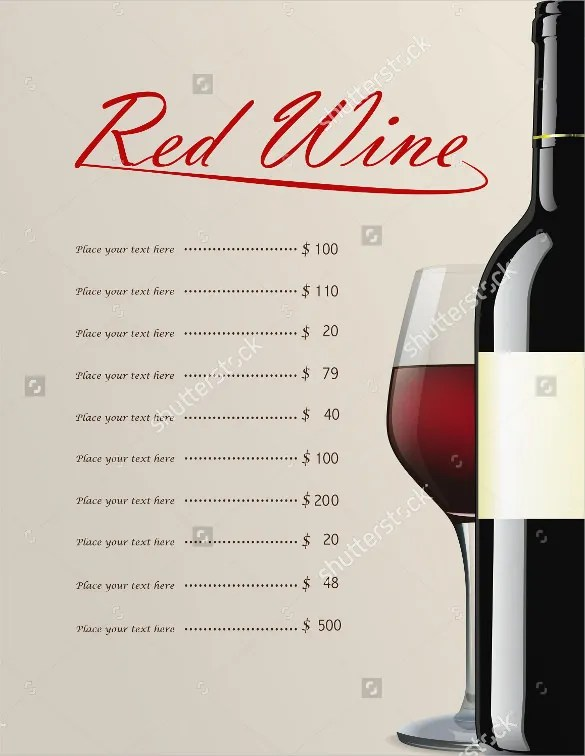 22+ Wine Menu Templates u2013 Free Sample, Example Format Download - sample drink menu template