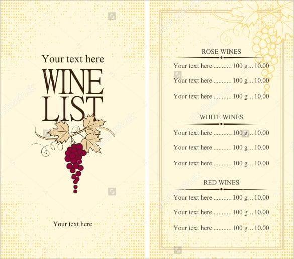 26+ Wine Menu Templates \u2013 Free Sample, Example Format Download - menu list sample