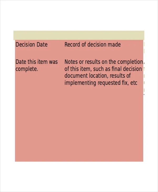 Decision Log Template - 7+ Free Word, Excel, PDF Documents Download