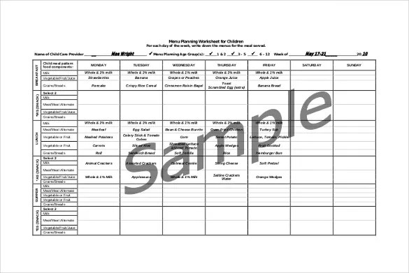 10+ Daycare Menu Templates \u2013 Free Sample, Example Format Download - daycare meal plan