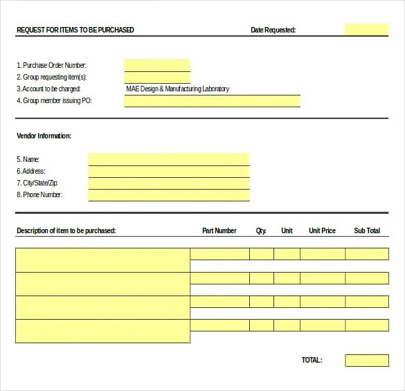 purchase order request template - Towerssconstruction