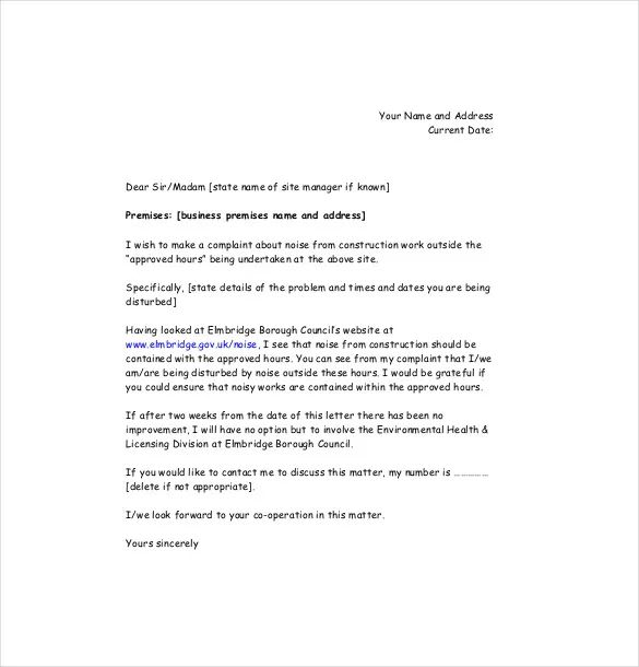 complaint letter about neighbours to landlord
