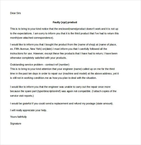 Business Complaint Letter \u2013 10+ Free Word, PDF Documents Download