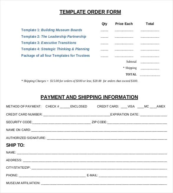 21+ Order Form Templates \u2013 Free Sample, Example, Format Download - shipping form templates