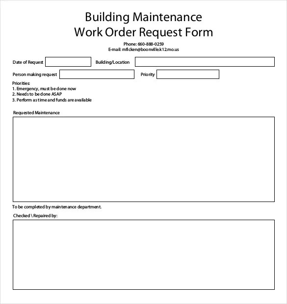 work order maintenance request form template - Acurlunamedia - maintenance work order form