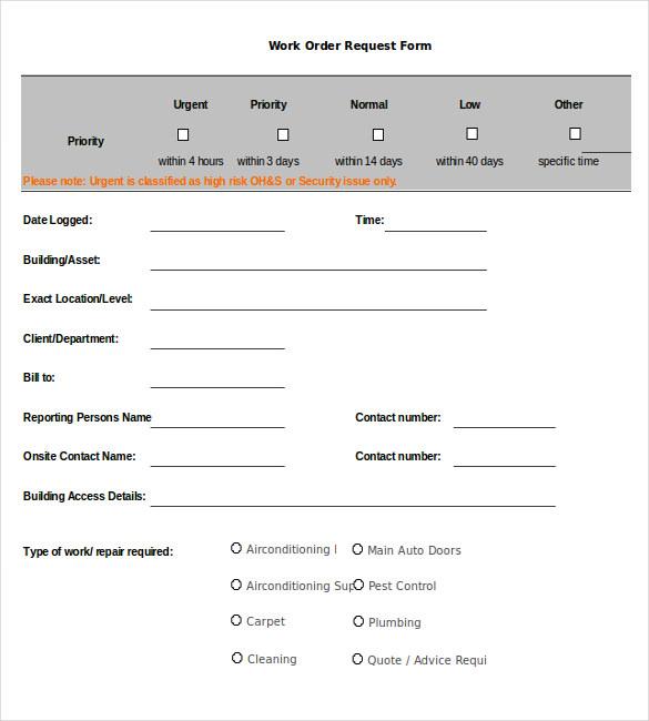 Excel Work Order Template \u2013 hardhostinfo - free work order form