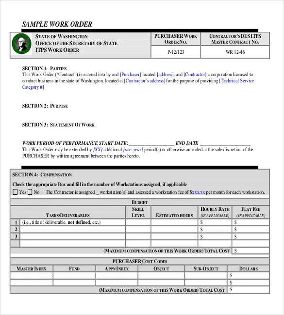 26+ Work Order Templates - Numbers, Pages Free  Premium Templates