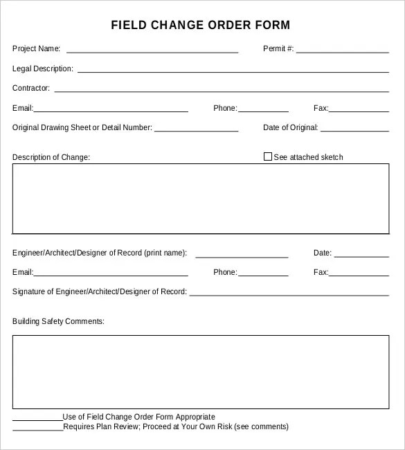 16+ Change Order Templates \u2013 Free Sample, Example, Format Download