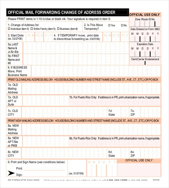 16+ Change Order Templates \u2013 Free Sample, Example, Format Download - Address Change Form