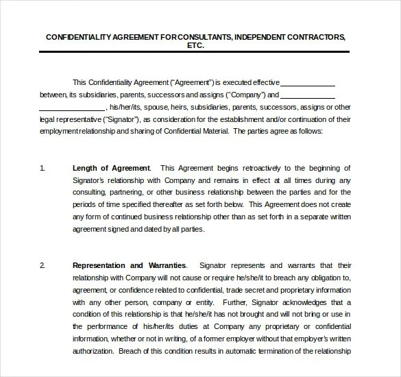 Contractor Confidentiality Agreements Hr Employee Confidentiality