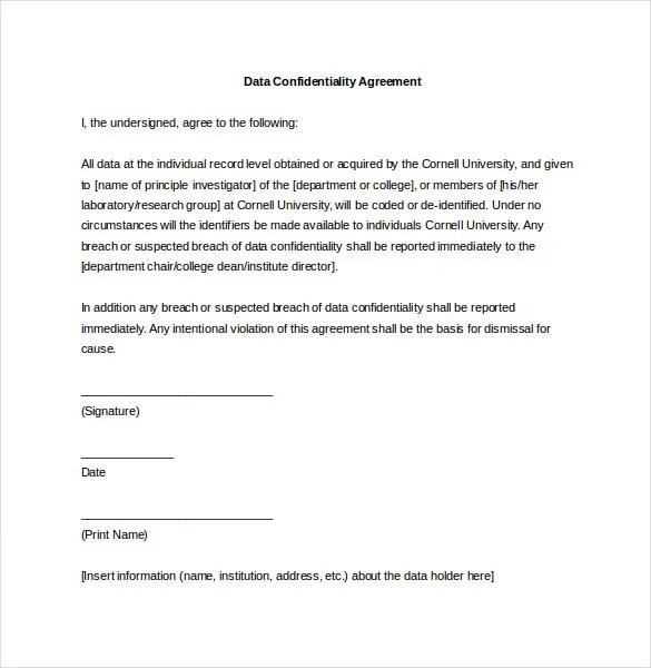 Data Confidentiality Agreements Sample Employee Confidentiality - data confidentiality agreement