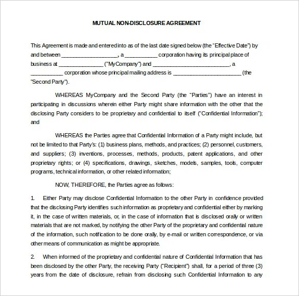 Mutual Confidentiality Agreements doc575709 mutual – Confidentiality Agreement Template