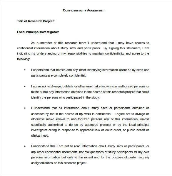 Confidentiality Agreement Nanny | Create Professional Resumes