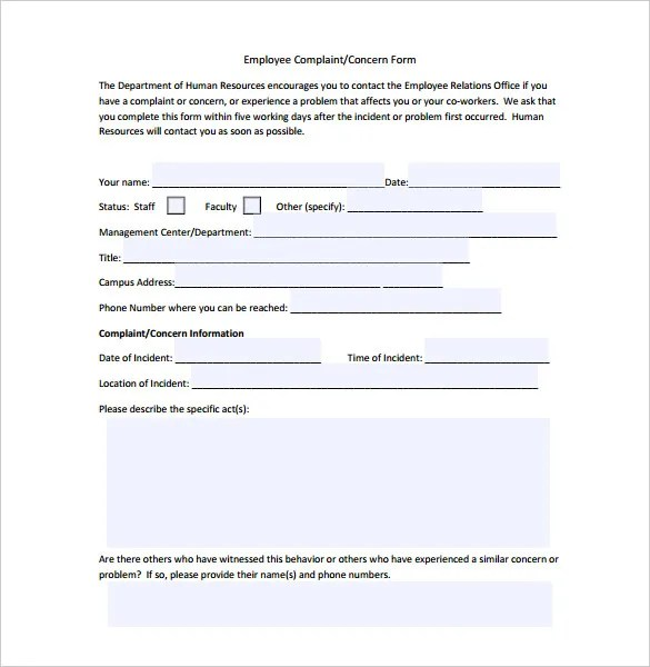 23+ HR Complaint Forms - Free Sample, Example Format Free - hr complaint form