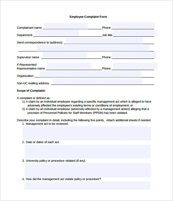 complaints forms templates - Onwebioinnovate