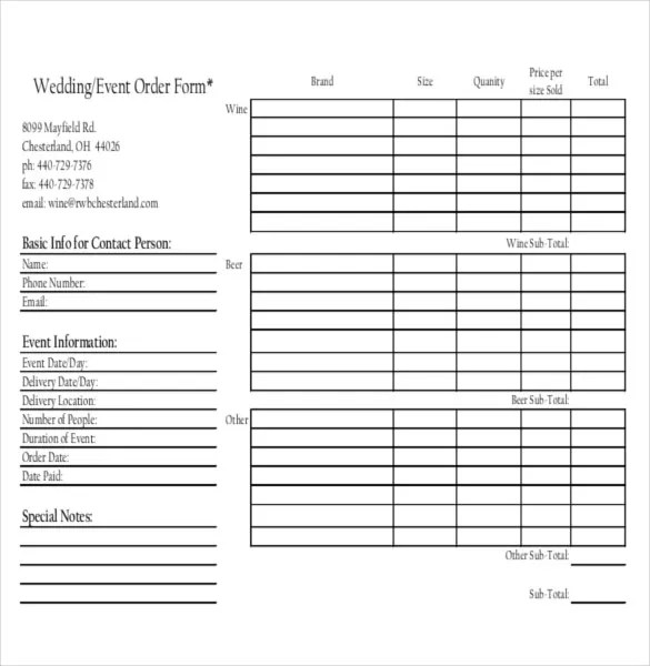 13+ Event Order Templates u2013 Free Sample, Example, Format Download - event order form