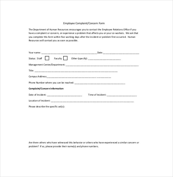 HR Complaint Letter \u2013 10+ Free Word, PDF Documents Download Free