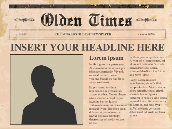 Old Newspaper Template S Newspaper Template Front Page Inside Page - printable newspaper templates