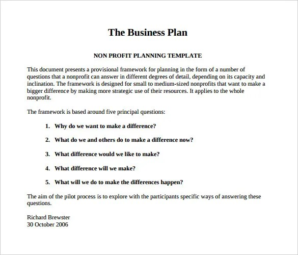 21+ Non Profit Business Plan Templates - PDF, DOC Free  Premium - Non Profit Proposal Template