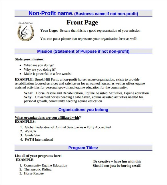 21+ Non Profit Business Plan Templates - PDF, DOC Free  Premium - non profit business plan template