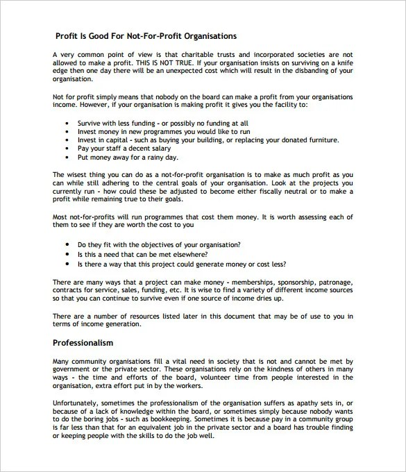 21+ Non Profit Business Plan Templates - PDF, DOC Free  Premium - making contracts more profitable