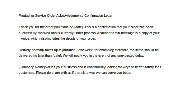 Order Confirmation Template u2013 24+ Free Word, Excel, PDF Document - order letter