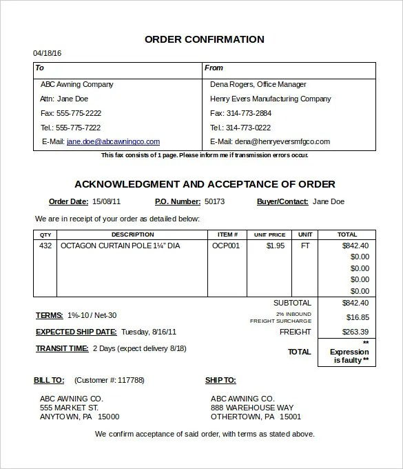 shipping confirmation template - Narcopenantly